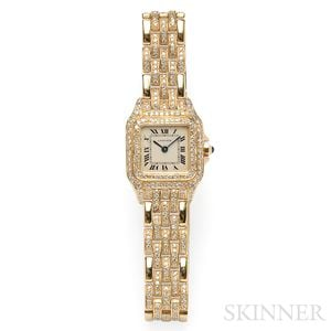 "18kt Gold and Diamond ""Panthere"" Wristwatch, Cartier"