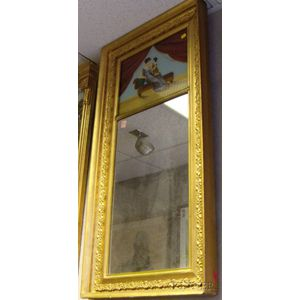 Gold-painted Empire Wood and Gesso Framed Mirror with Reverse-painted Glass Tablet   Depicting a Mother and Child