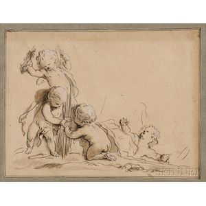 School of Jacob De Witt (Dutch, 1695-1754)      Pair of Drawings: Putti at Play
