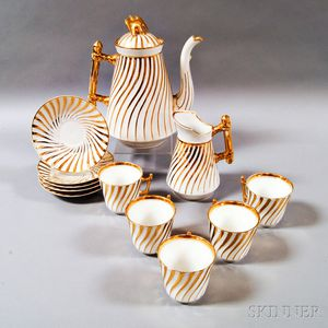 Twelve-piece Gilt Porcelain Coffee Service