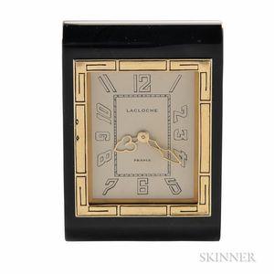 Lacloche Miniature Traveling Desk Clock and Case