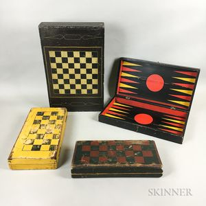 Four Polychrome Painted Wood Folding Game Boards