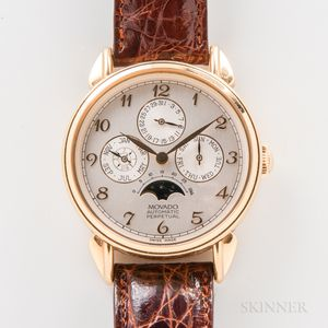 """Limited Edition Movado 18kt Gold """"1881 Suisse"""" Perpetual Calendar Wristwatch with Box, Papers, and Book"""