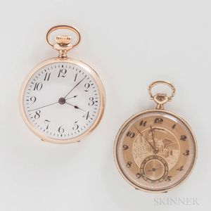 Two Longines Watch Co. 14kt Gold Open-face Watches