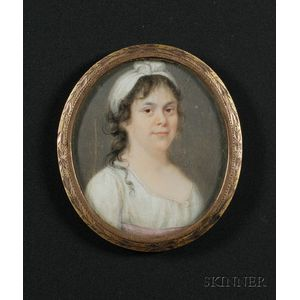 Portrait Miniature of a Woman in White