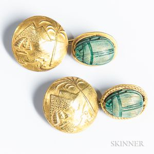 Pair of 18kt Gold Egyptian Cuff Links