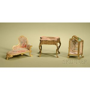 Three Miniature Gilt-metal Furniture Pieces