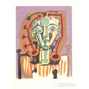 After Pablo Picasso (French, 1881-1973)      Figure au corsage rayé