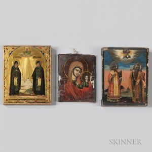 Three Painted Russian Icons on Wood Panels