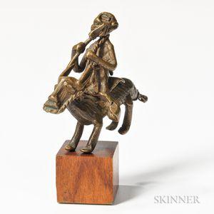 Akan Brass Goldweight of an Equestrian Figure