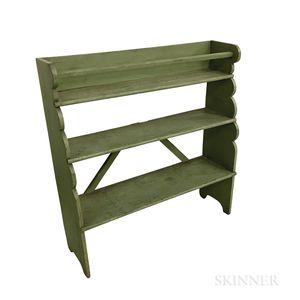 Green-painted Pine Three-tier Bucket Bench