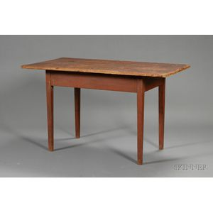 Federal Red-painted Birch and Pine Tavern Table