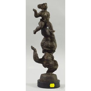 After Chaim Gross (American, 1904-1991)      Acrobatic Figural Group.