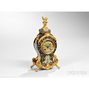 French Champleve Boudoir Clock