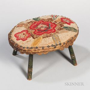 Oval Stool with Floral Needlework Top