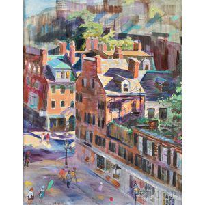 Helen Coolidge Adams (American, 1917-1997)      Beacon Hill Street Scene, Boston