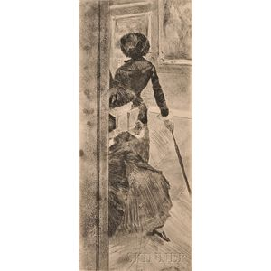 Edgar Degas (French, 1834-1917)      Au Louvre, la peinture, Mary Cassatt