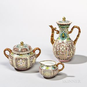 Three-piece Partial Service of Sevres Déjeuner Chinois Reticulé