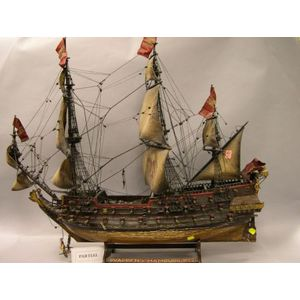 Painted Wooden Model of the 1667 Sailing Ship Wappen von Hamburg