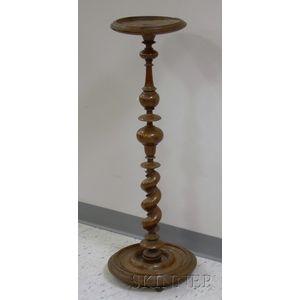 Italian 18th Century Turned Walnut Pedestal