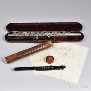 American Silver Flute and a 19th Century French Wood Piccolo