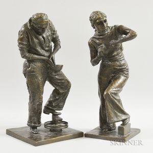 Eugenie Gershoy (American, 1901-1983)      Two Bronze Figures of Artists at Work: Sculptor and Potter