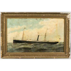 Antonio Nicolo Gasparo Jacobsen (Danish/American, 1850-1921)      Portrait of the Steamship New York