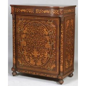 Dutch Fruitwood Floral Marquetry Inlaid Mahogany Tall Chest