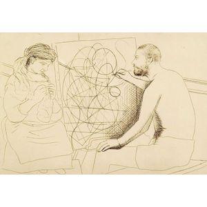 Pablo Picasso (Spanish, 1881-1973)    Peintre et Modele Tricotant