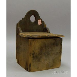 Blue-painted Compass Decorated Wooden Lidded Salt Wall Box