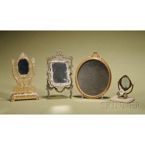 Four Miniature Metal Mirrors