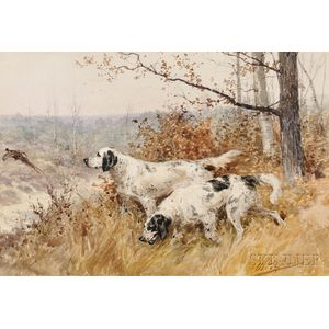 Olivier de Penne (French, 1831-1897)      Hunting Dogs Flushing a Pheasant