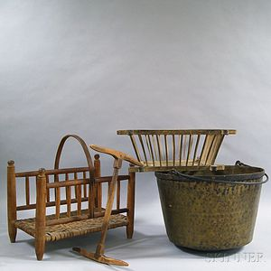 Brass Bucket, Wood Holder, Cheese Strainer, and a Niddy Noddy.     Estimate $200-250