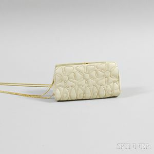 Judith Leiber Beige Leather Stitched Clutch