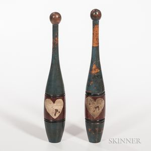 Pair of Polychrome Painted Juggling Clubs