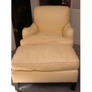 Contemporary Leather Easy Chair with Ottoman.