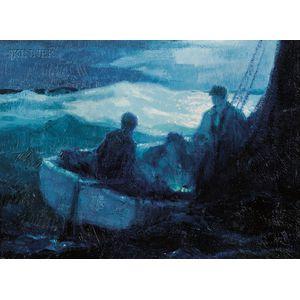 George Elmer Browne (American, 1871-1946)      Sailing Under...