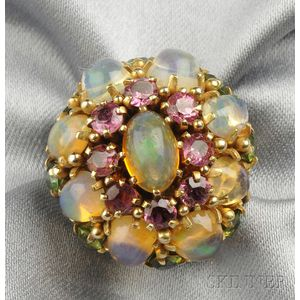14kt Gold, Fire Opal, and Tourmaline Dome Ring