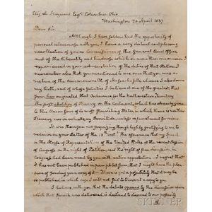 Adams, John Quincy (1767-1848) Autograph Letter Signed, 20 April 1837.