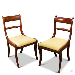 Pair of Regency Mahogany Sabre-leg Chairs