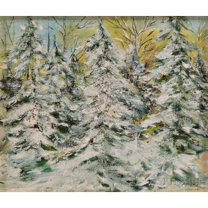 American School, 20th Century      Evergreens in Winter