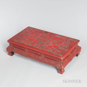 Carved Red Lacquer Kang Table