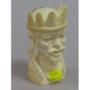 African Carved Ivory Bust of a Man with Headdress.