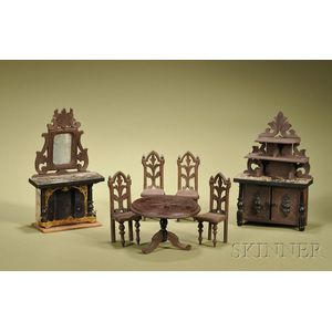 Miniature Seven-Piece Black Forest Style Hand-carved Dining Room Suite