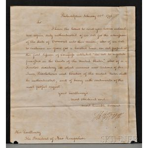 Jefferson, Thomas (1743-1826) Letter Signed as Secretary of State under Washington,   22 February 1791.