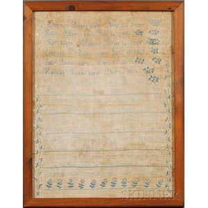 Needlework Family Register Sampler