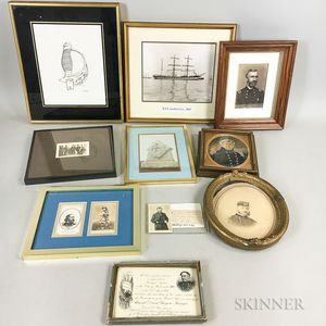 Group of Framed Civil War-era Items