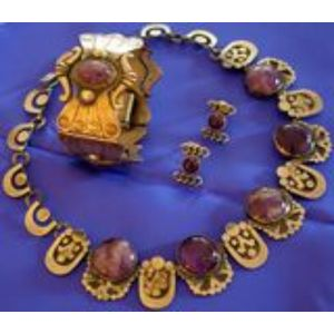 Three Pieces of Mexican Silver and Purple Hardstone Jewelry