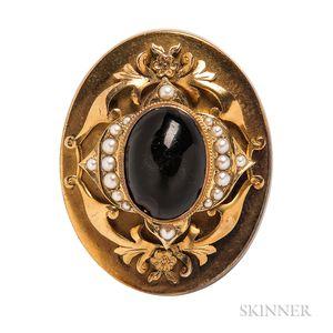Antique Gold and Garnet Brooch