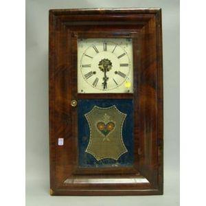 William S. Johnson Mahogany Veneer Ogee and Reverse-Painted Mantel Clock.